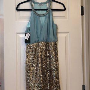 Tiffany Blue Gold Sequin Mini Dress